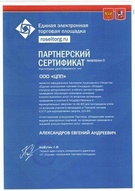 Партнерский сертификат 1