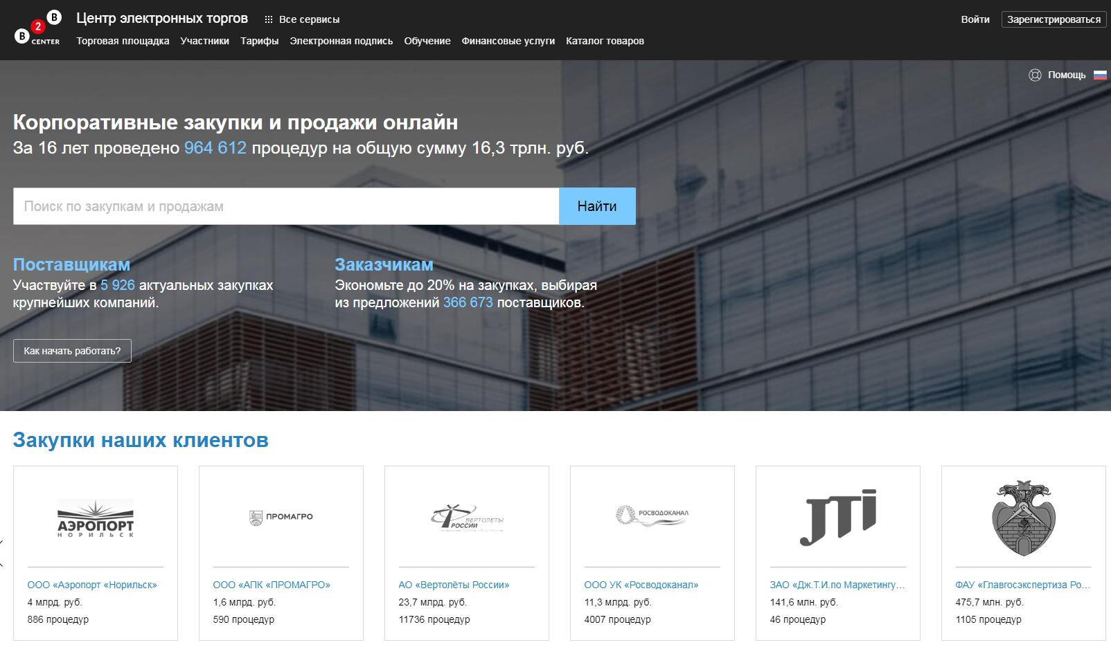 ЭТП B2B-center Электронная торговая площадка b2b-center.ru